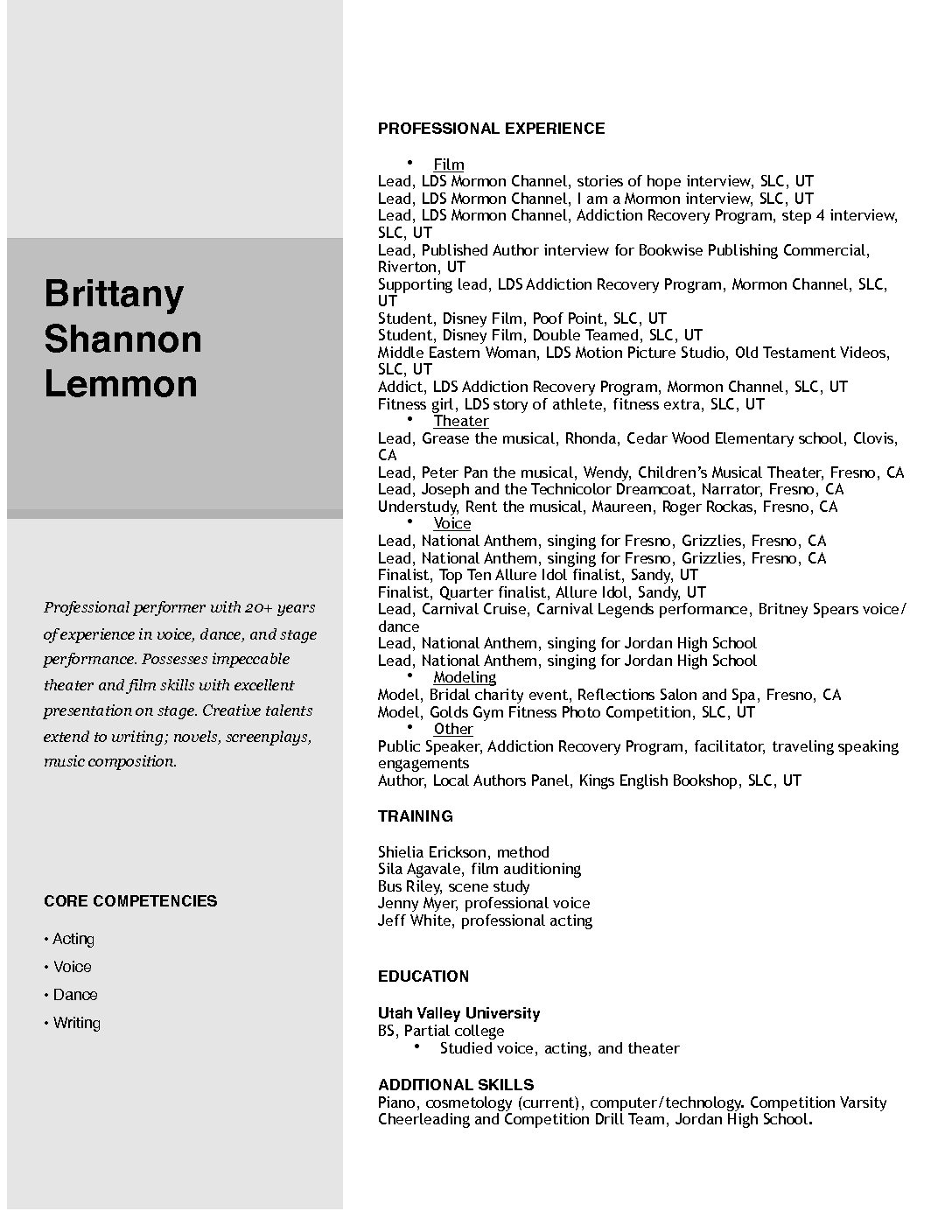 Cute Performer Resume Ideas - Documentation Template Example Ideas ...